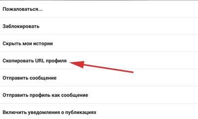 Скопировать URL профиля