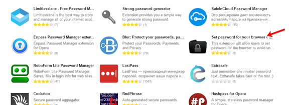 Расширение Set password for your browser