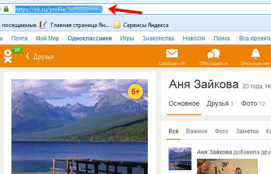Ссылка на профиль человека в Одноклассниках