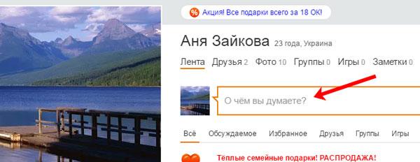 Поле Статус в Одноклассниках