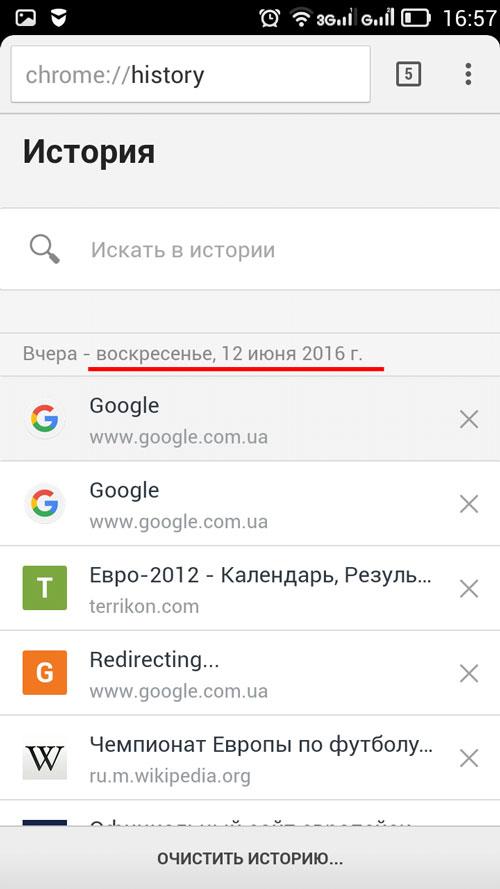 Список просмотренных сайтов
