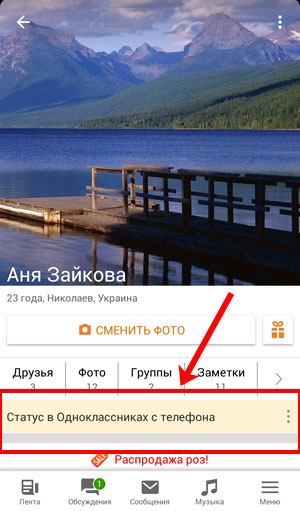 Статус в Одноклассниках с телефона