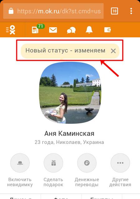 Статус в мобильной версии Одноклассников