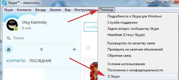 Помощь – O Skype