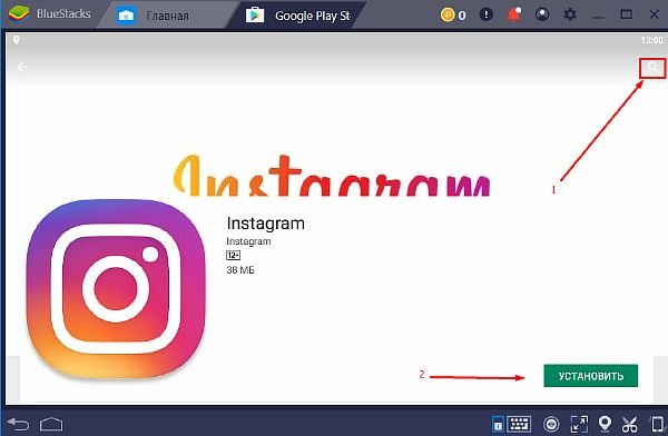 Установка приложения Instagram в BlueStacks