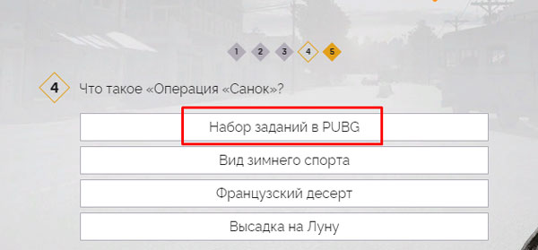 """Выбор варианта """"набор заданий в PUBG"""""""