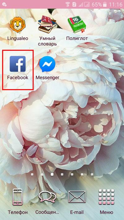 Выбор знака фейсбук на мобильном устройстве