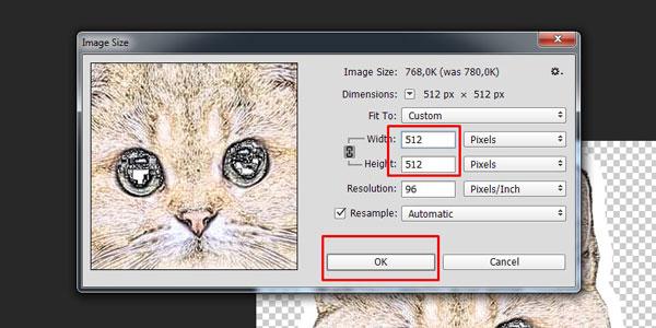 """Выставление размера в 512 пикселей и кнопки """"ОК"""""""