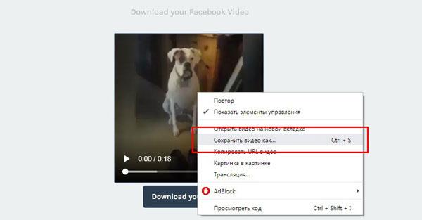 Выбор строки «Сохранить видео как…»