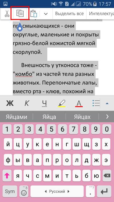 """Выделение текста. Выбор значка """"копирования"""""""