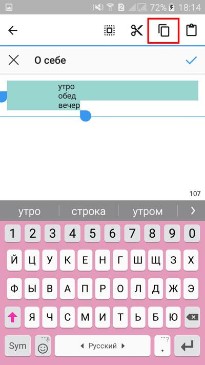 Выделение текста и нажатие кнопки копирования