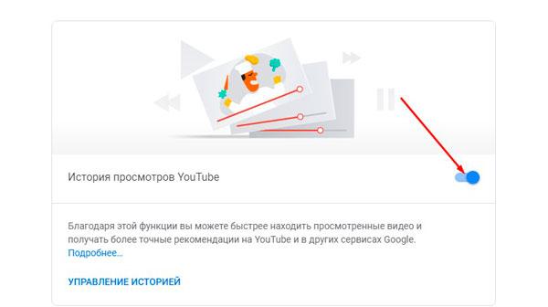Раздел «История просмотров на YouTube»