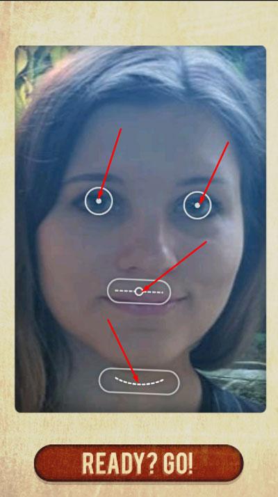 Настройка кнопок для отметки глаз, губ и подбородка