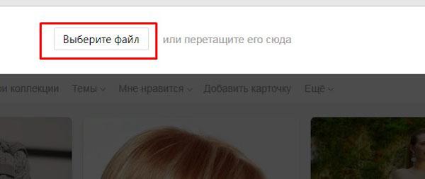 Выбор кнопки «Выберите файл»