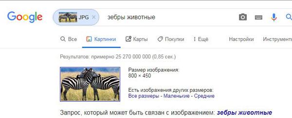 Результат поиска в гугл