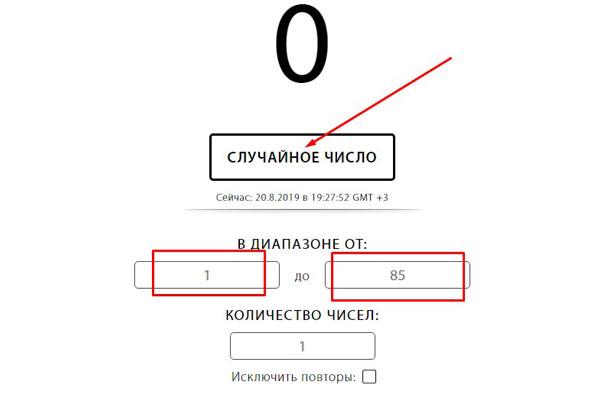 Выбор кнопки «Случайное число»