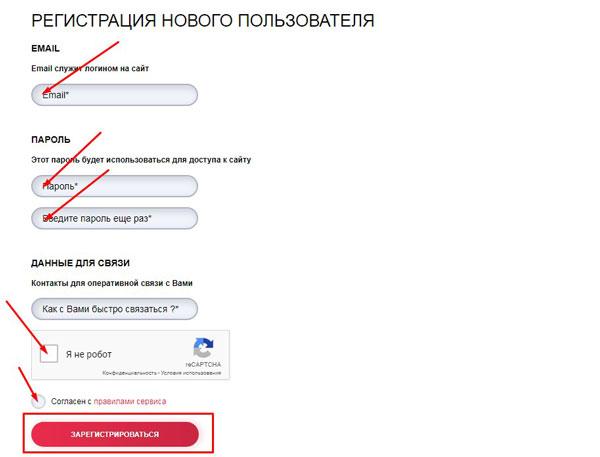 Стрелочки указывают на необходимость ввода данных и выбор кнопки «Зарегистрироваться»