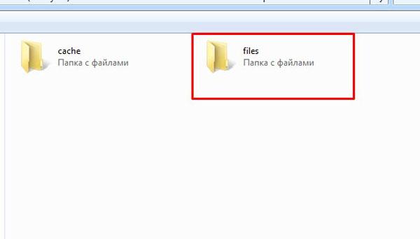 Выбор папки «files»