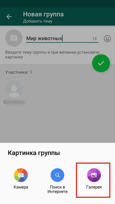Выбор кнопки «Галерея»