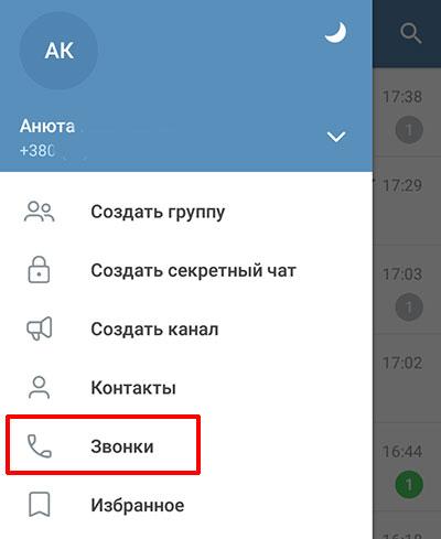 Раздел Звонки в Телеграмм