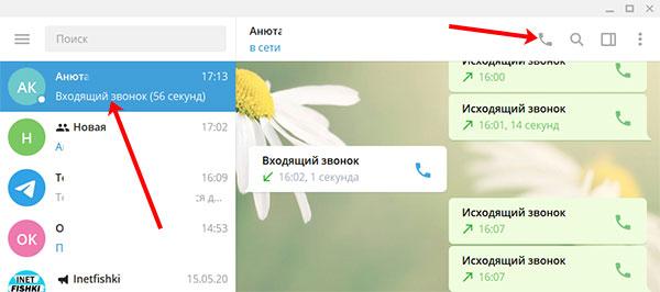 Как позвонить в Телеграмм с компьютера