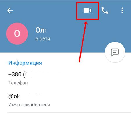 Кнопка видеозвонка в Телеграмм