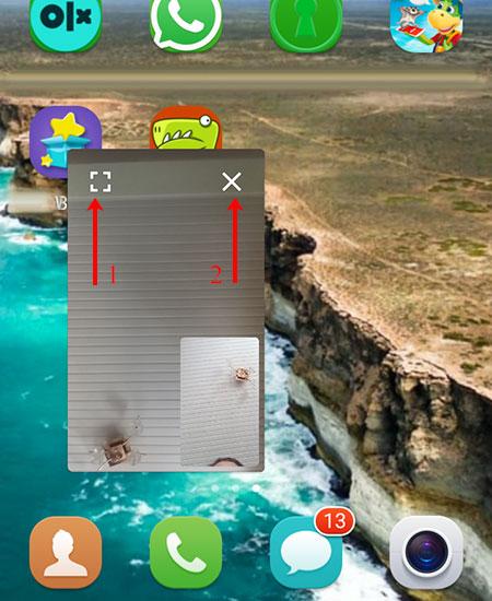 Окно с видео на экране телефона
