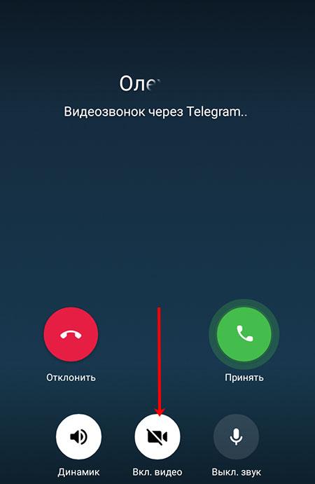 Отключенное видео во время звонка