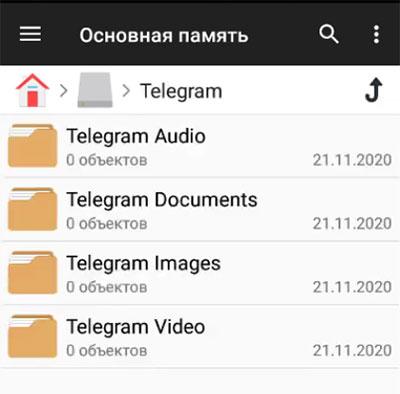 Сохраненные в телефоне файлы из Телеграмм