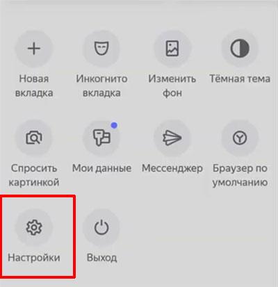 Выбор настроек в меню браузера